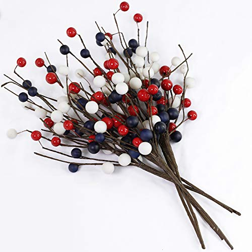 """BESTTOYHOME 6 Pack Artificial Patriotic Berry Spray Red White Blue Americana Berry Picks Faux Berry Stems 13.7"""" Tall for 4th of July Independence Day Memorial Day Rustic Decoration Floral Arrangement"""