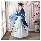 YUNGYE Disfraz de hada hanfu chino para niña con falda de hada Hanfu y manga larga para verano (color: estilo M, tamaño: 160 cm)