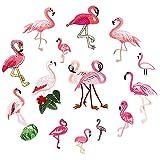 Juland 14 PCS Flamingo Bestickte Patches Selbstklebend Gestickte benutzerdefinierte Rucksack-Patches für Männer, Frauen, Jungen, Mädchen, Kinder