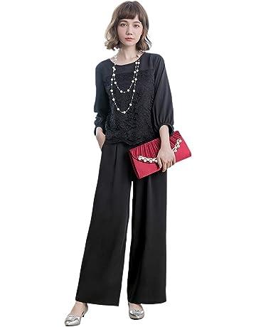 10b98775c52e50 パンツドレス パーティードレス パンツ セットアップ レディース パンツスーツ 大きいサイズ 袖あり パンツドレス 2