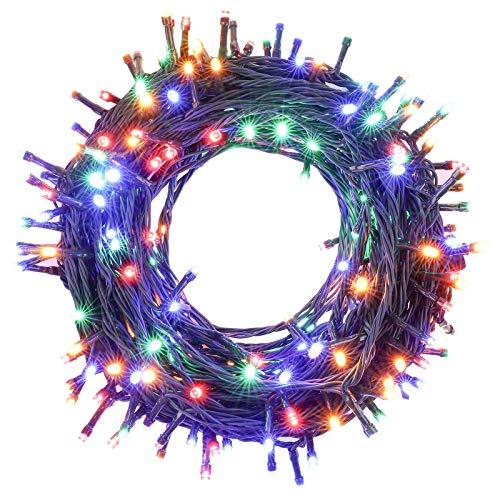 OUSFOT Luci Albero di Natale Colorate 27m 250 Leds 8 Modalità Impermeabile Luci Natale Led esterno interno Può Collegare 4 pezzi per Decorazioni Natalizie Feste di Capodanno