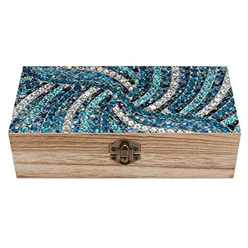 Elegante caja de madera con cristales de imitación de color gris, turquesa, color plateado y azul turquesa, caja de regalo para el hogar, caja de té, 19 x 9,7 x 5,9 cm
