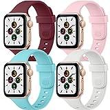 Wanme 4 Pack Correa Compatible con Apple Watch 44mm 42mm 40mm 38mm, Nueva Pulsera de Repuesto de Silicona Suave para iWatch Series SE 6 5 4 3 2 1 (42mm/44mm, Azul Claro/Rosa/Blanco/Vino Rojo)