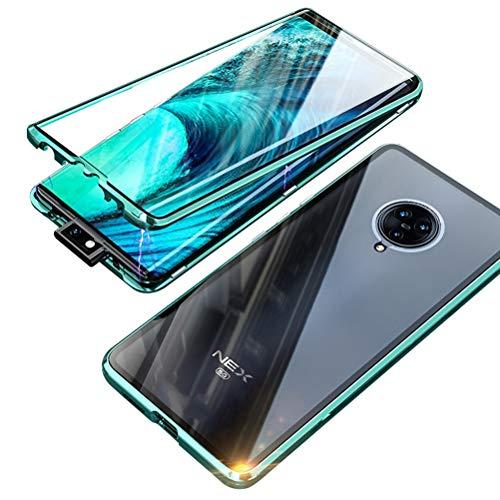 BINGRAN Vivo Nex 3 Hülle, Magnetische Adsorption Metall[Aluminium Bumper + Vorder-& Rückseite Transparent Gehärtetem Glas] 360°Abdeckung Schutzhülle Hülle für Vivo Nex 3 6.89