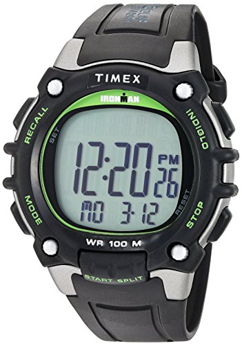 Timex Men's TW5M03400 Ironman Classic 100 Full-Size Black/Green Resin Strap Watch