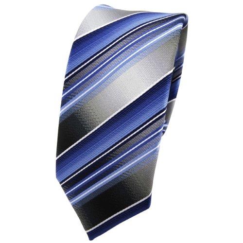 schmale TigerTie Designer Krawatte in blau hellblau silber anthrazit gestreift - Tie Binder