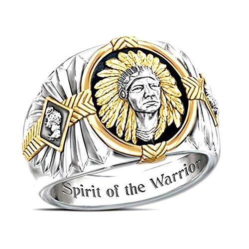 Anillo de águila vikinga Rock Punk Hip Pop Diseño gótico étnico, anillo de motociclista para hombre, anillo de joyería personalizado, dos tonos de plata y oro para hombres, niños y esposo (10)