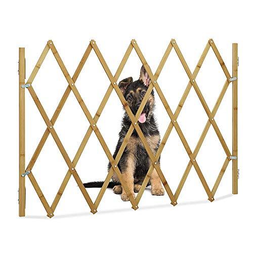 Porta pieghevole per cani ,legno, altezza: 48 cm, usata per case, porte, scale, extra larga (marrone, lunghezza riposta: 60 cm, lunghezza aperta: 110 cm Altezza: 48 cm)