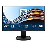 Philips Monitor 223S7EYMB 22' LED IPS, Full HD, 3 Side Frameless, Altezza Regolabile, Girevole, Pivot, Inclinabile, Casse Audio Integrate, Softblue Protezione Occhi, Display Port, VGA, Vesa, Nero
