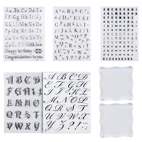 7 Pcs Alphabet Cake Stamp Tool Kit, 5 Pcs Reusable Cake Cookie Alphabet and Numbers Stamps Fondant Cake Mold and 2 Pcs Stamping Blocks, Letter Number Stamp Cookie Cutter for DIY Baking, Fondants Cakes