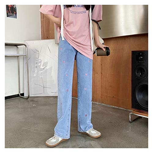 QXXKJDS Femmes S Fashion Jeans Love Broderie Streetwear Vintage Taille High Taille Large Pantalon Blue Casual Girl Girl Student Denim Pantalon (Color : Blue, Size : S)