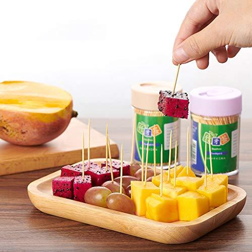 Palillo de bambú desechable,Palillo de palillo de dientes,hogar desechable de una sola cabeza puntiaguda en caja de alta gama yema recoger fruta pasta de dientes de bambú para restaurante (3 cajas)