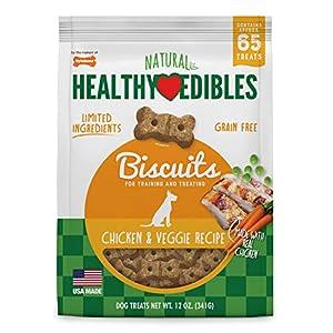 Nylabone Healthy Edibles Biscuits Grain Free Dog Treats Chicken & Veggie Flavor 12 oz.