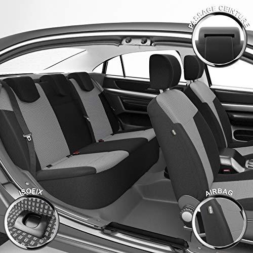 DBS - Housses de siège sur Mesure pour C3 Aircross (10/2017 à 2021)   Housse Voiture/Auto d'intérieur   Haut de Gamme   Jeu Complet en Tissu   Montage Rapide
