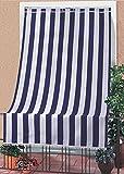 IlGruppone Tenda da Sole Tessuto Resistente per Esterno con Anelli Lavabile Frange Pizzo - Blu - 140x300 cm