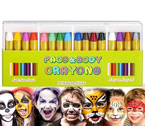 Kinderschmink, 16 stuks bodypaint make-up lichaamsbeschildering sticks gezicht schilderen kleurpotloden voor kinderen Halloween Pasen party