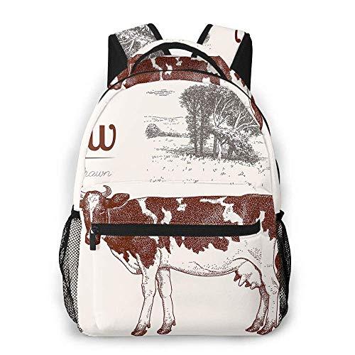 Kuh Casual Rucksack Grafikstil von Hand Zeichnung Bild Tierbäume Natur Schulrucksack Reiserucksack mit Flasche Seitentaschen