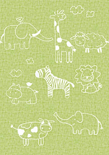 """Green Animals Peel and Stick Wallpaper - Removable Contact Paper, Wall Paper, or Shelf Paper – Child's Elephant Hippo Lion Bird Cow Sheep Giraffe Children's Room Wallpaper - 17.71"""" Wide x 118"""" Long"""