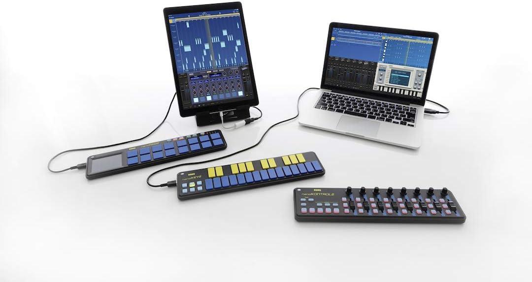 Korg nanoKEY2 - Teclado USB (25 teclas, MIDI), color azul y amarillo