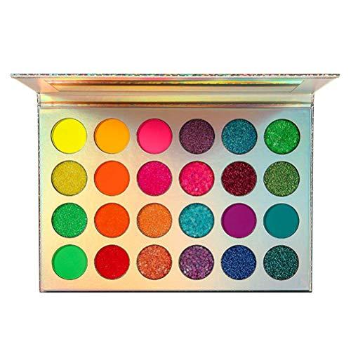 24 Colores Neon Sombra De Ojos Paleta Glitter UV Crecer Blacklight Maquillaje Paletas Matte Brillo Para Los Ojos, Cara, Pelo, Cuerpo, Altamente Pigmentado Rojo Amarillo Púrpura Verde,24 colours