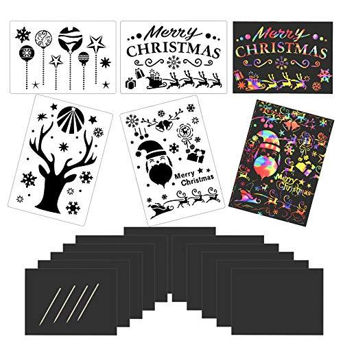 CHIFOOM Scratch Art Navidad 24pcs Hojas de Rascar Papel Manualidades 4 Estilos Plantillas Navideñas 4pcs Lápices para Dibujar Papa Noél Alces Sombrero Calcetín de Navidad Muñeco de Nieve para Niños