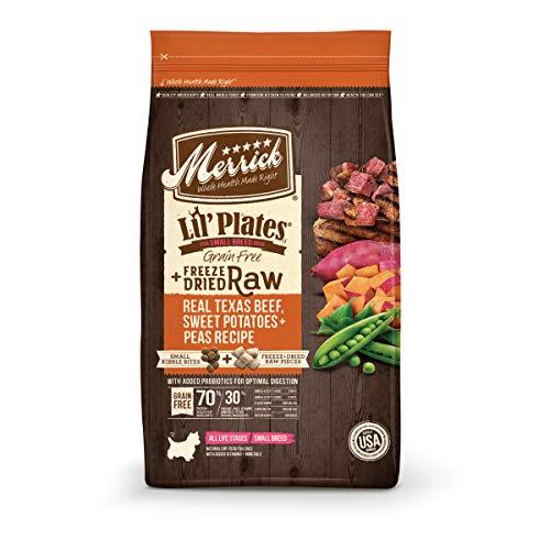 Merrick Lil' Plates Grain Free Small Breed Dry Dog Food Real Texas Beef, Sweet Potato + Peas With Raw Bites Recipe - 10 lb. Bag