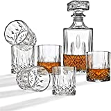 LKHGD Decantador y Vasos de Whisky Set, 1 Botella (1000 ml) y 6 Vasos (300 ml) para Scotch, Bourbon, Idea de Regalo de Alcohol