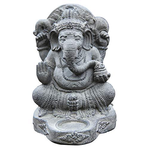 Kleiner Ca. 25cm Gamesha Stein Buddha Antik Look Hindu Massiv Steinfigur Skulptur Feng Shui Garten Deko Wetterfest Lawa Stein Vitakra Mudra aus West Jawa STB8