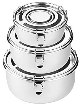 Premium Stainless Steel Food Storage Containers | 316 Grade | The Original Leak-Proof Airtight Smell-Proof - Perfect For Camping Trips Lunches Leftovers Soups Salads & More  Set of 3