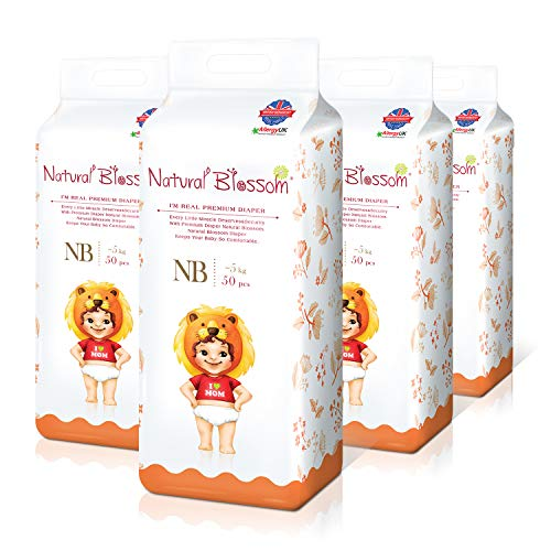 Natural Blossom Baby Diapers Size 1 (Up to 11lbs) 200 Count,...
