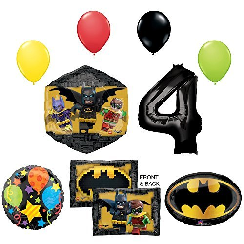 LEGO The Batman Movie 4th Birthday Party Supplies And Balloon Decorations
