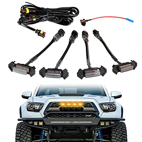 LED Grille Lights with 4 leads Harness & Fuse,4Pcs ABS Plastic Auto Grille LED Lights Front Bumper Cover Lamp Fit for Toyota Tacoma 2016, 2017, 2018,2019 TRD PRO Grille (Yellow)