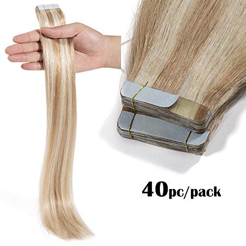 TESS Tape Extensions Echthaar Ombre Klebeband Haarverlängerung Remy Tape in Human Hair günstig 40 Tressen x 4 cm 100g-40cm(#18/613 Hellgoldblond/Hell-Lichtblond)