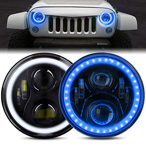 DOT Approved 7 Inch LED Halo Headlights for Wrangler JK TJ LJ 1997-2018, CREE LED Chip, with DRL Amber Turn Signal Light and Halo Ring Angel Eyes (7' headlight with blue halo(2PCS))