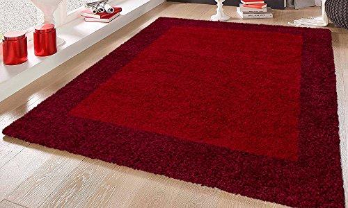 NAZAR Tapis DE Salon Shaggy Moderne A Bordure - DE Couleur ET Tailles DIFFERENTES (Rouge, 120 x 160 cm)