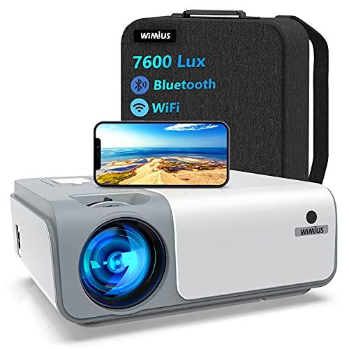 Proyector WiFi Bluetooth 7600Lúmenes, WiMiUS Proyector Full HD 1080P Nativo Soporte 4K, Proyector WiFi Digital 4D y Función de Zoom 50%, PortátilProyector Cine en Casa para iOS/Android/PS4/TV Stick