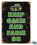 Señal de metal vintage con texto en inglés 'Keep Calm And Farm On Tractor' para el hogar, sala de estar, al aire libre, club, casa de la granja, comedor, habitación, bares, pubs, Man Cave