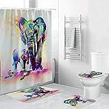EZEZWSNBB 4-teiliges Badvorleger-Set Aquarell Tier Elefant Duschmatte + Kontur Matte + WC-Deckelbezug + Duschvorhang,rutschfeste Badvorleger,Dusche & Toilette Badezimmerteppich