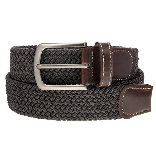 Braided Belt Silver Nickel Finish Buckle Faux Leather Elastic Woven Stretch Mens Womens Dress, Gray, Medium