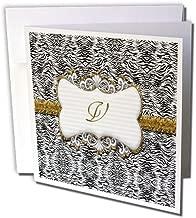 3dRose Elegant Back and White Animal Print with Gold Frame Monogram Letter V - Greeting Cards, 6 x 6 inches, set of 12 (gc_113956_2)