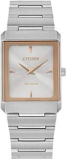 ساعة سيتيزن EG6016-58A للجنسين بمينا فضي وبسوار ستانلس ستيل