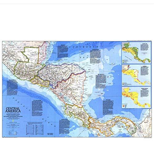 Midden-Amerika Kaart Delicate Canvas muur Geografische Lijnen Home Decoratie Leren Onderwijs Print Afbeelding-60x90cmx1pcs- Geen Frame
