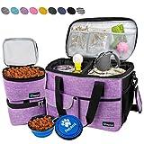 PetAmi Reisetasche für Hunde, Flugzeug-zugelassene Tragetasche mit Multifunktionstaschen, Futterbehälter und faltbarer Schüssel, perfektes Reiseset für Hunde, Katzen, Medium, violett