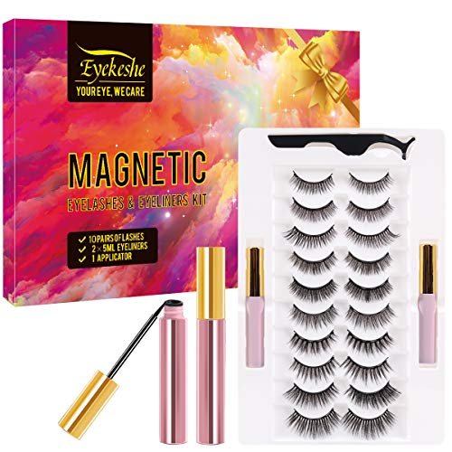Magnetic Eyelashes with Eyeliners, Natural Look Reusable Magnetic False Lashes with Applicator Kit (10 PAIRS)