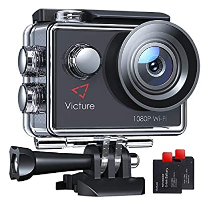 Victure AC420 Action Camera Full HD 1080P Wifi 30m Underwater Camcorder 2 LCD 170 Degree Angle Sports Helmet Cam with 2 Batteries and Accessories