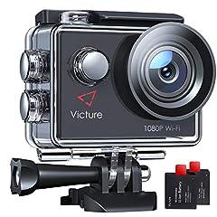Victure AC420 Action Cam 14MP WI-Fi Full HD 1080P Waterproof Sports Action Camera 30M Onderwatercamera met 2 inch LCD-scherm 170 Groothoeklens 2 Batterijen en montageaccessoiresKits*
