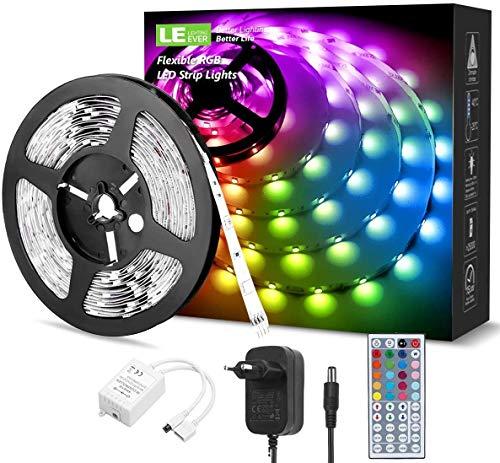 LED Strip, LE LED Streifen Farbwechsel Led Lichterkette 5M RGB, Flexible LED Band Strips mit Kontroller, LED Lichtband IP20, LED Leiste Bänder Anwendung für Schlafzimmer