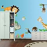 Ecloud Shop Jungle Sauvage Animaux Sticker Mural Sticker pour bébé Enfants Chambre Wallpaper (2 STK)