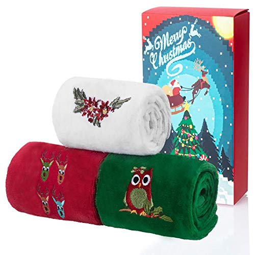 Christmas Hand Towels 12 x 18 inch, 100% Cotton Dish Towels, Super Soft Kitchen Wash Cloths Towels for Drying, Cleaning, Home Kitchen Bathroom Towels Gift(Set of 3: Red, White, Green)