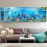 Lienzo Arte de la pared Moderno Azul Mar profundo Peces marinos Animales Pintura Impresión en lienzo para la habitación de los niños Acuario Decoración para el hogar Imágenes 30x80cm sin marco